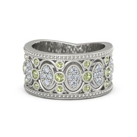 Palladium Ring with Peridot & Diamond