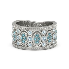 Palladium Ring with Aquamarine & London Blue Topaz