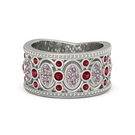 Palladium Ring with Ruby and Rhodolite Garnet