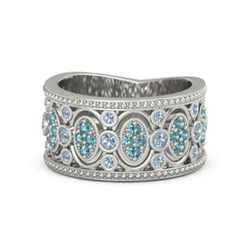 Palladium Ring with Blue Topaz & London Blue Topaz