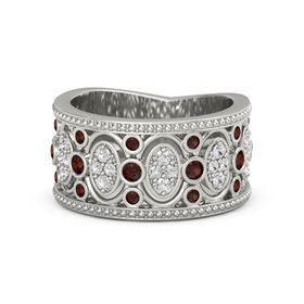 Platinum Ring with Red Garnet and White Sapphire