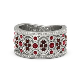 Platinum Ring with Ruby & Red Garnet
