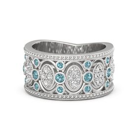 Sterling Silver Ring with London Blue Topaz and White Sapphire