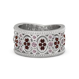 Sterling Silver Ring with Rhodolite Garnet & Red Garnet