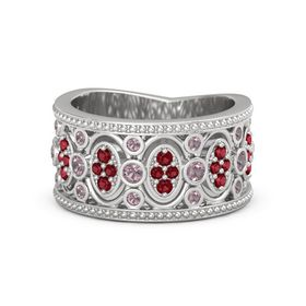Sterling Silver Ring with Rhodolite Garnet & Ruby