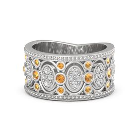 Sterling Silver Ring with Citrine & White Sapphire
