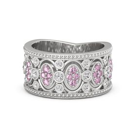 Sterling Silver Ring with White Sapphire & Pink Sapphire