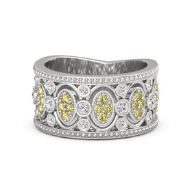 Sterling Silver Ring with White Sapphire & Yellow Sapphire
