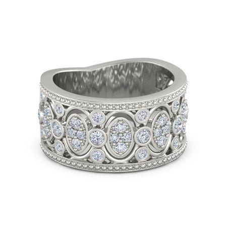 14k White Gold Ring With Diamond Renaissance Band Gemvara