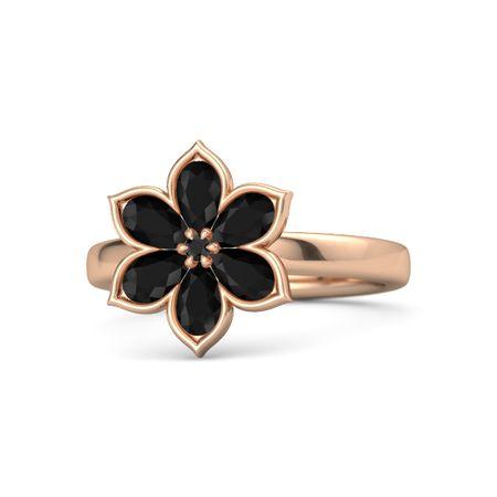 Round Black Diamond 14K Rose Gold Ring with Black Onyx ...