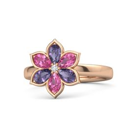Round Diamond 14K Rose Gold Ring with Iolite and Pink Tourmaline