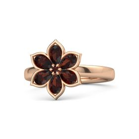 Round Red Garnet 14K Rose Gold Ring with Red Garnet