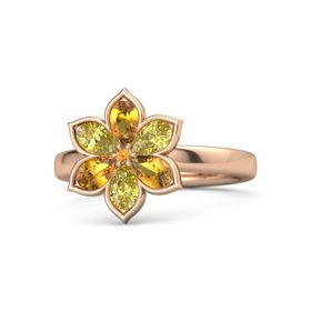 Round Citrine 14K Rose Gold Ring with Citrine & Yellow Sapphire