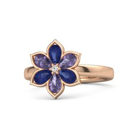 Round White Sapphire 14K Rose Gold Ring with Blue Sapphire and Iolite