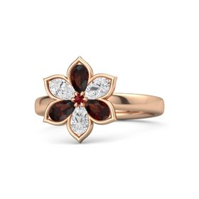 Round Ruby 14K Rose Gold Ring with Red Garnet and White Sapphire