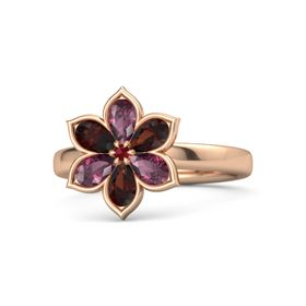 Round Ruby 14K Rose Gold Ring with Rhodolite Garnet and Red Garnet