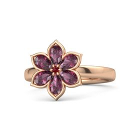 Round Ruby 14K Rose Gold Ring with Rhodolite Garnet