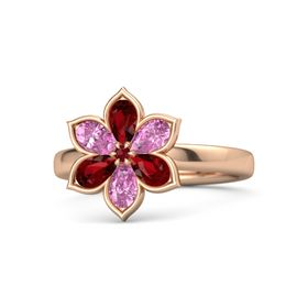 Round Ruby 14K Rose Gold Ring with Ruby & Pink Sapphire