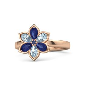 Round Blue Sapphire 14K Rose Gold Ring with Blue Sapphire and Aquamarine