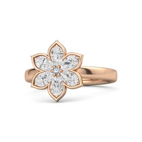 Round Blue Topaz 14K Rose Gold Ring with White Sapphire