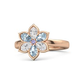 Round Iolite 14K Rose Gold Ring with White Sapphire and Aquamarine