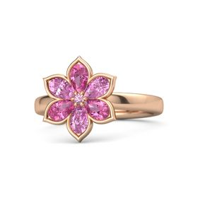 Round Pink Tourmaline 14K Rose Gold Ring with Pink Tourmaline & Pink Sapphire