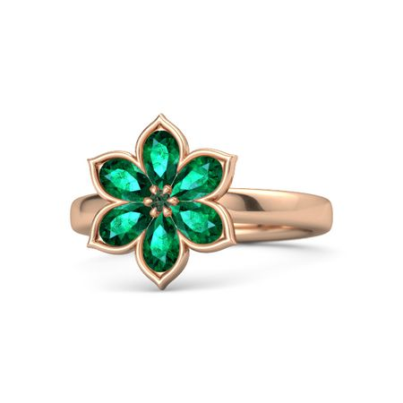 Round Alexandrite 14K Rose Gold Ring with Emerald