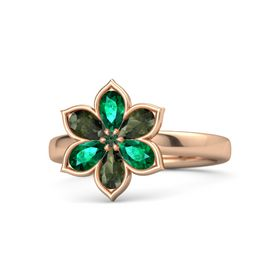 Round Alexandrite 14K Rose Gold Ring with Emerald and Green Tourmaline