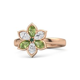 Round Alexandrite 14K Rose Gold Ring with Peridot & White Sapphire