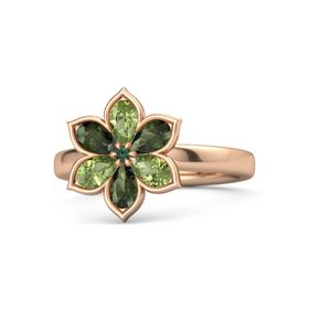 Round Alexandrite 14K Rose Gold Ring with Peridot and Green Tourmaline