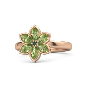 Round Alexandrite 14K Rose Gold Ring with Peridot