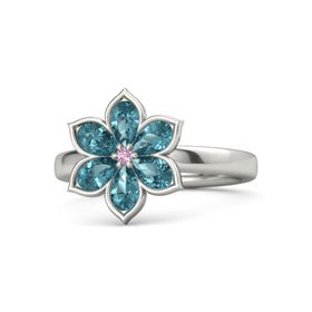 Round Pink Sapphire 14K White Gold Ring with London Blue Topaz