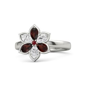 Round Ruby 14K White Gold Ring with Red Garnet and White Sapphire