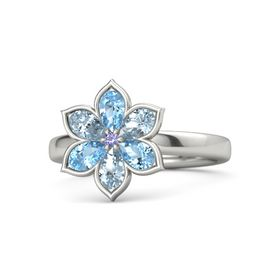 Round Iolite 14K White Gold Ring with Blue Topaz and Aquamarine