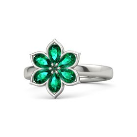 Round Alexandrite 14K White Gold Ring with Emerald