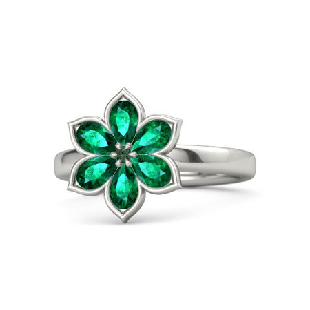 alexandrite 14k white gold ring with emerald