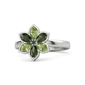 Round Alexandrite 14K White Gold Ring with Peridot and Green Tourmaline