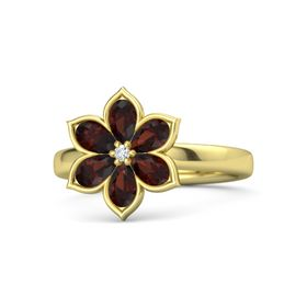 Round Diamond 14K Yellow Gold Ring with Red Garnet