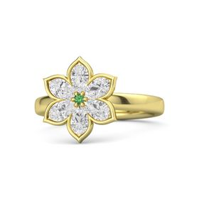 Round Emerald 14K Yellow Gold Ring with White Sapphire