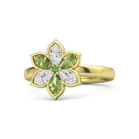 Round Emerald 14K Yellow Gold Ring with White Sapphire and Peridot