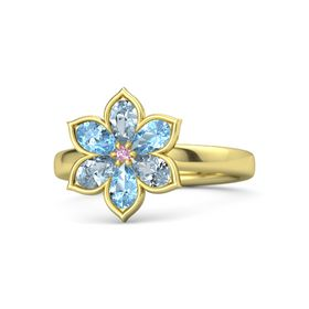 Round Pink Sapphire 14K Yellow Gold Ring with Aquamarine and Blue Topaz