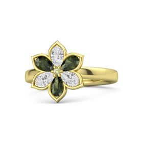 Round Peridot 14K Yellow Gold Ring with White Sapphire and Green Tourmaline