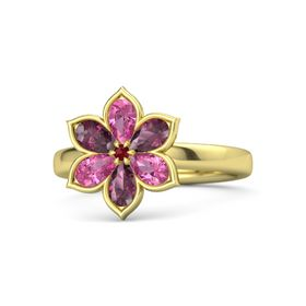 Round Ruby 14K Yellow Gold Ring with Pink Tourmaline & Rhodolite Garnet