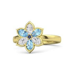 Round Blue Sapphire 14K Yellow Gold Ring with White Sapphire and Blue Topaz
