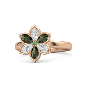 Round Emerald 18K Rose Gold Ring with White Sapphire and Green Tourmaline