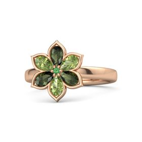 Round Emerald 18K Rose Gold Ring with Green Tourmaline and Peridot
