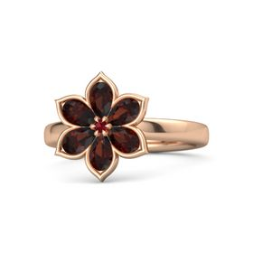 Round Ruby 18K Rose Gold Ring with Red Garnet