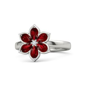 Round Diamond 18K White Gold Ring with Ruby