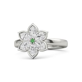 Round Emerald 18K White Gold Ring with White Sapphire