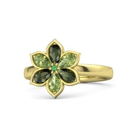 Round Emerald 18K Yellow Gold Ring with Green Tourmaline and Peridot